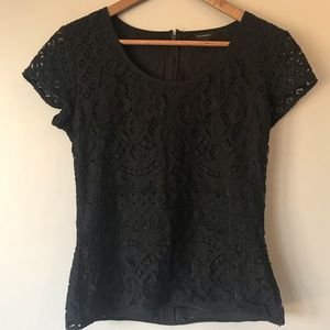 Ann Taylor black lace top size small